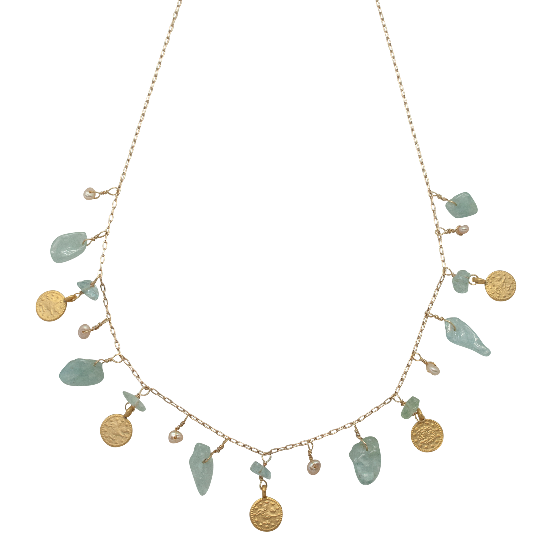 aquamarine disc charm necklace by vivien walsh on white background