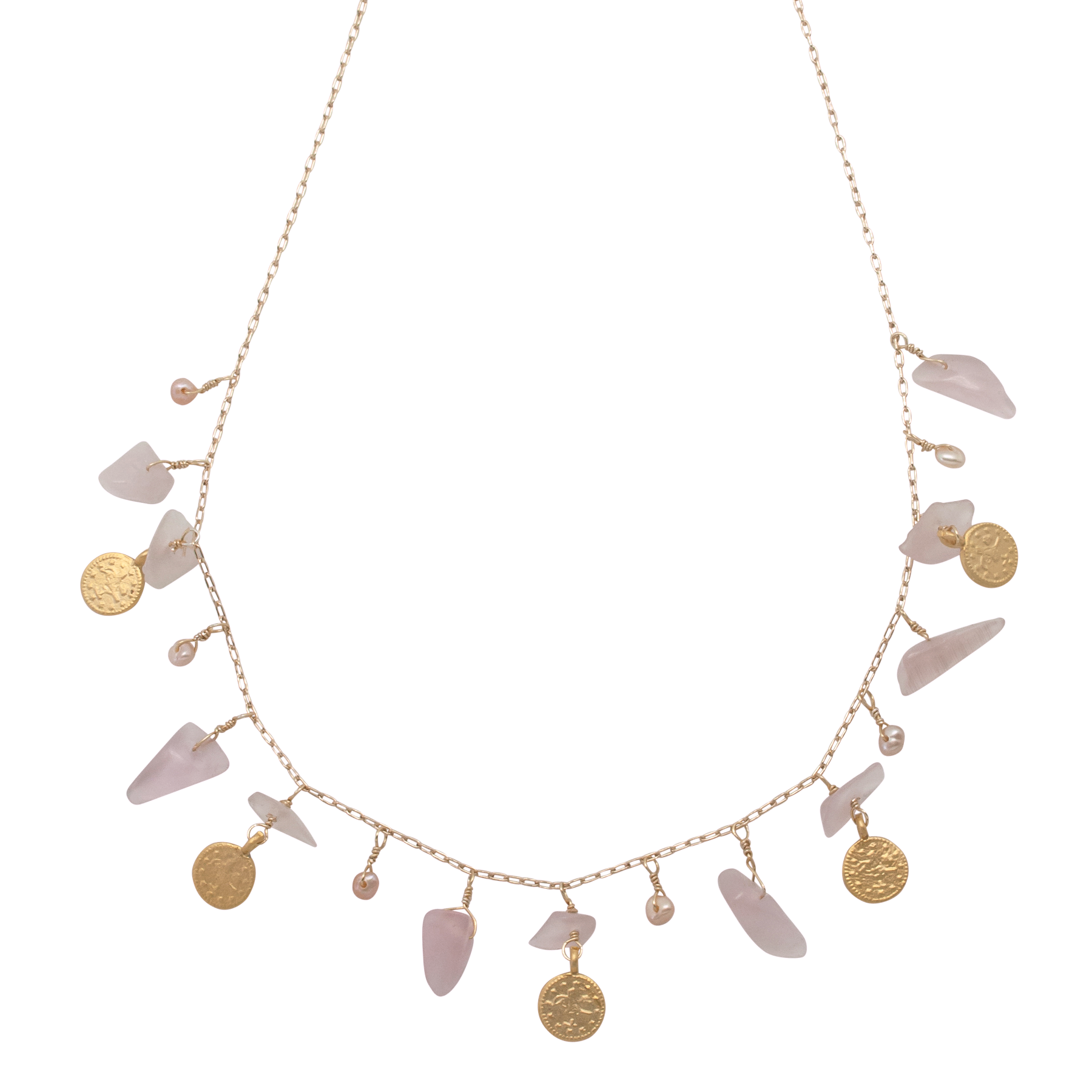 rose quartz disc charm necklace by vivien walsh on white background