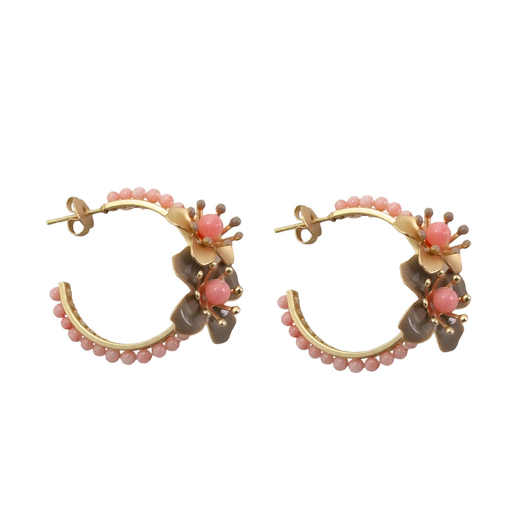 beaded flower hoops | coral