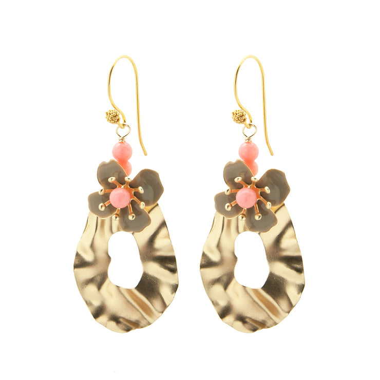 crinkle flower earrings | grey