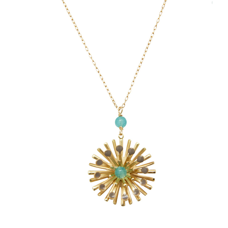 flower spray pendant | aquamarine