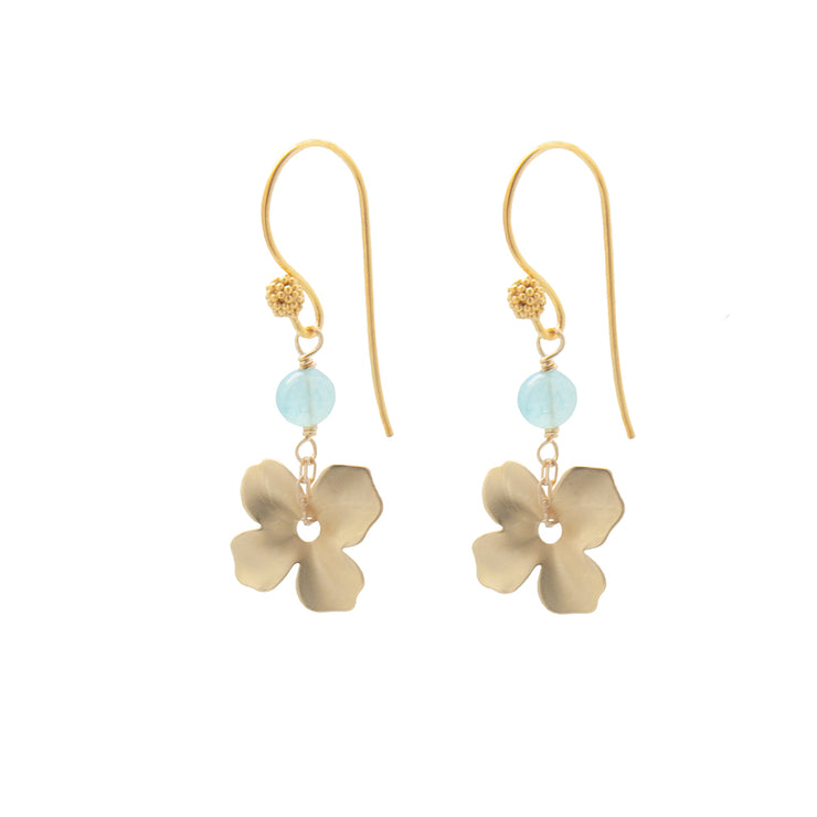 gold + aquamarine mini flower earrings