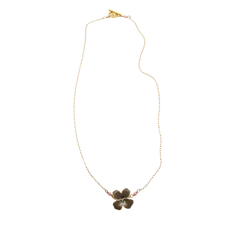 enamel flower chain | grey