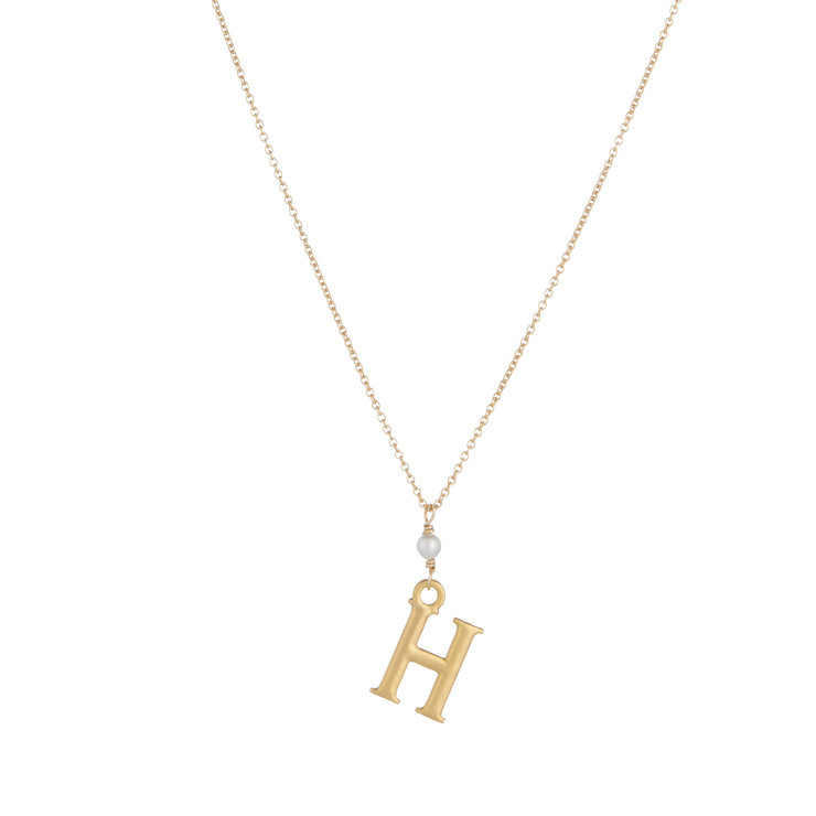 """H"" Initial Charm Necklace with Pearl"