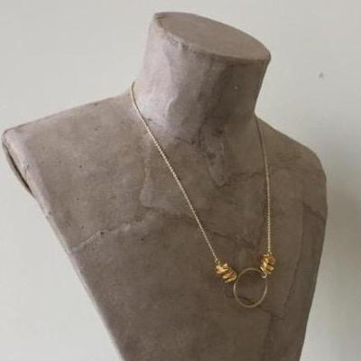 gold plated circle necklace on gold filled chain, vivien walsh