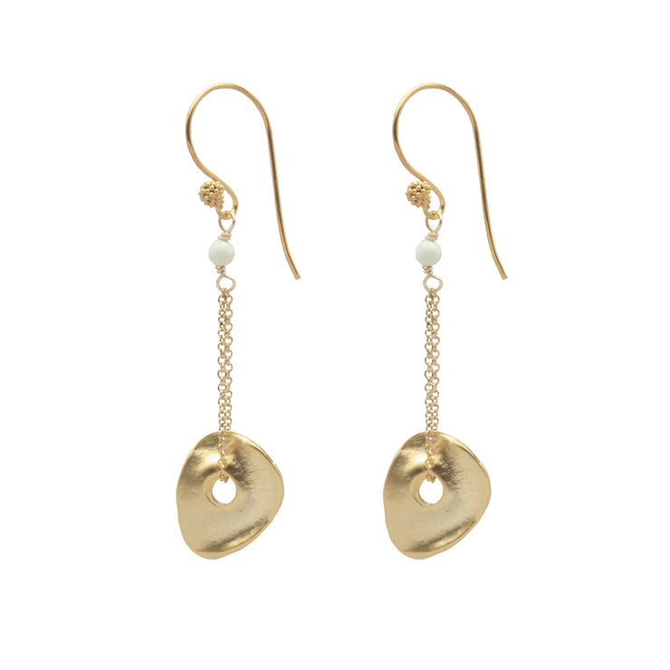 disc chain earrings with ivory bead on white background by vivien walsh