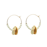 ivory beaded disc midi hoops with gold freeform discs