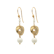 ivory disc bead earrings on white background