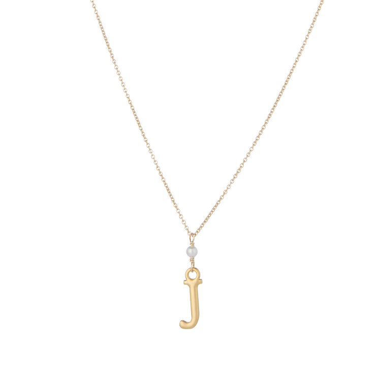 """J"" Initial Charm Necklace with Pearl"