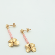Beaded line flower earrings with coral