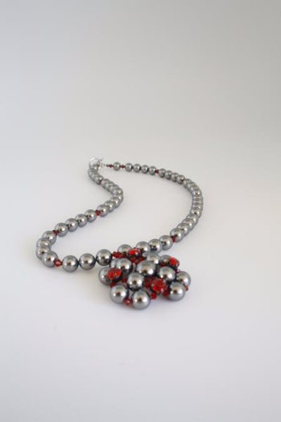 grey square pearl necklace with red crystal stones by vivien walsh