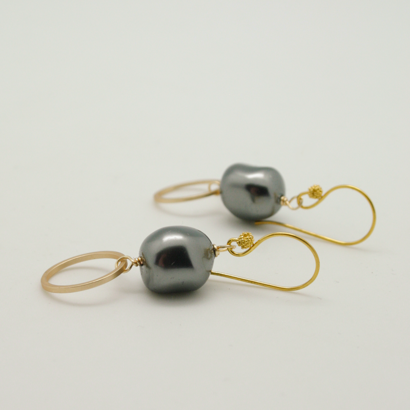 baroque circle earrings