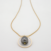grey pearl nugget pendant on gold box chain