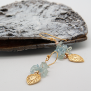 aquamarine earrings with gold plated textured charm