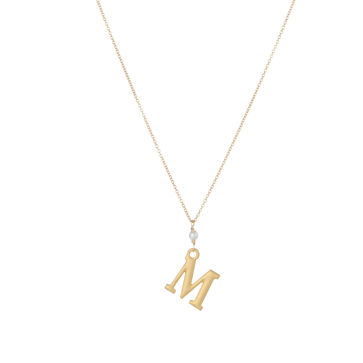 """M"" Initial Charm Necklace with Pearl"