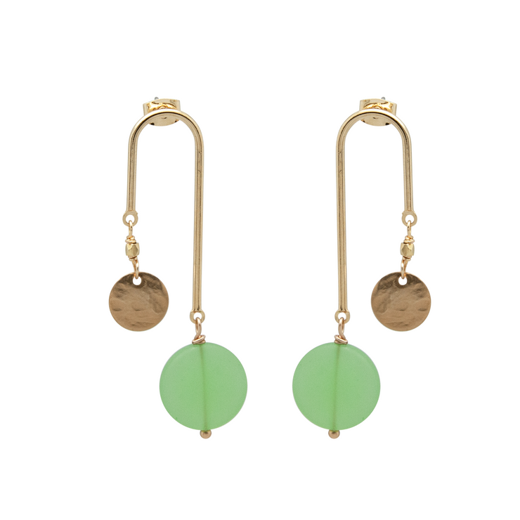 gold plated curve earrings with mint green recycled glass drop on white background