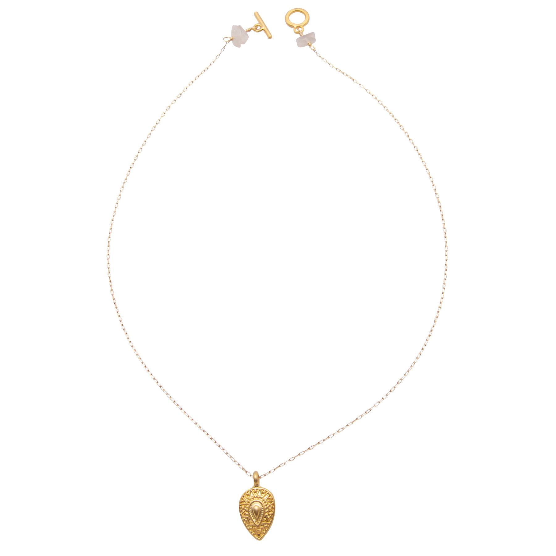 matte gold shield necklace on gold filled chain