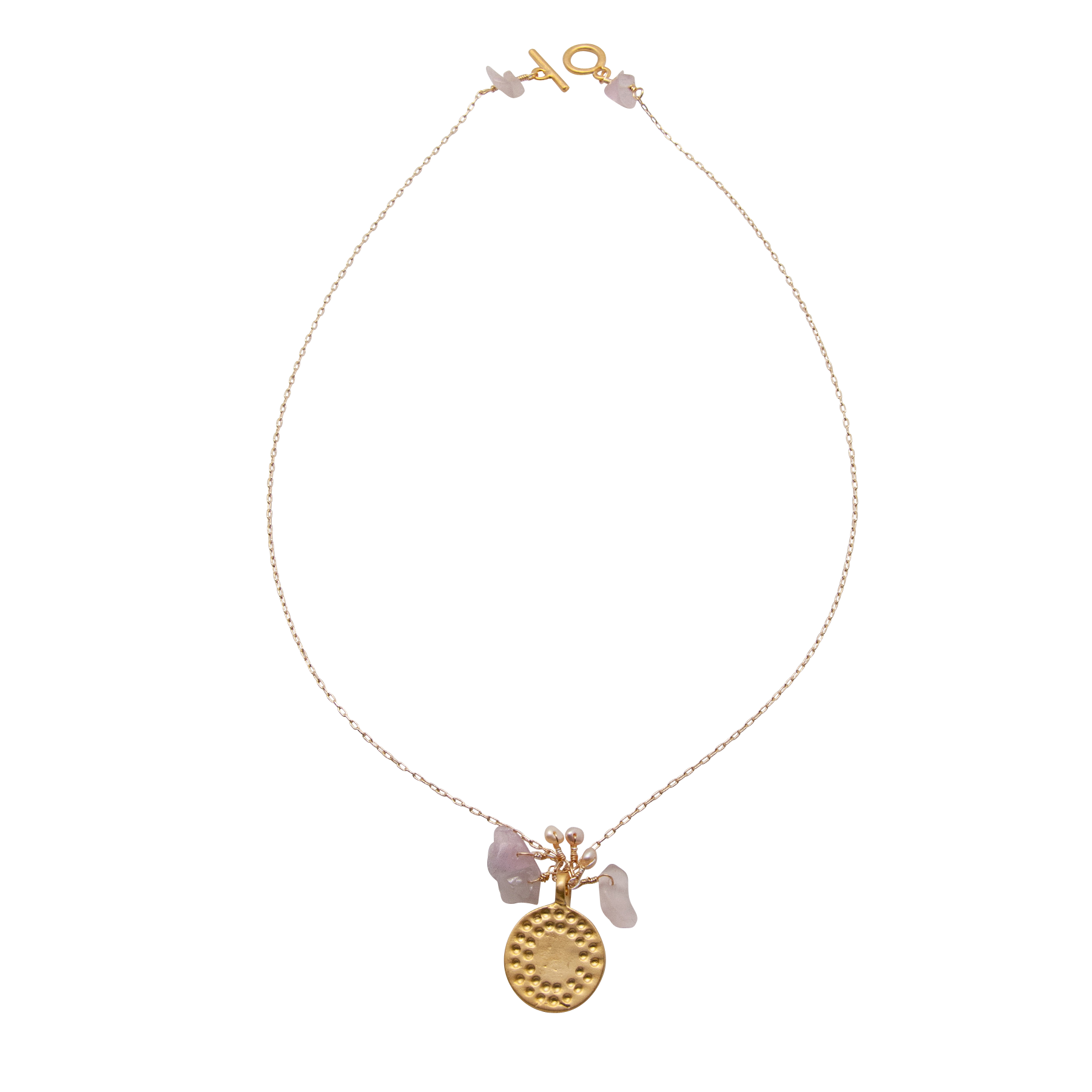 rose quartz dot disc necklace by vivien walsh on white background