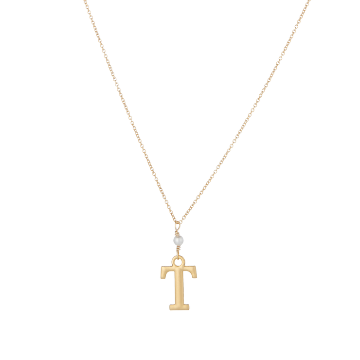 """T"" Initial Charm Necklace with Pearl"