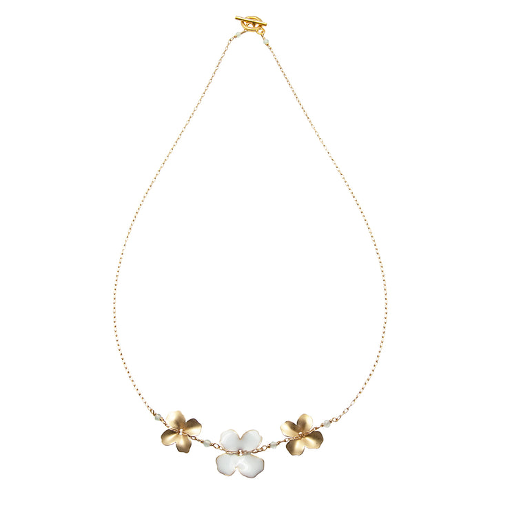 three flower necklace | white