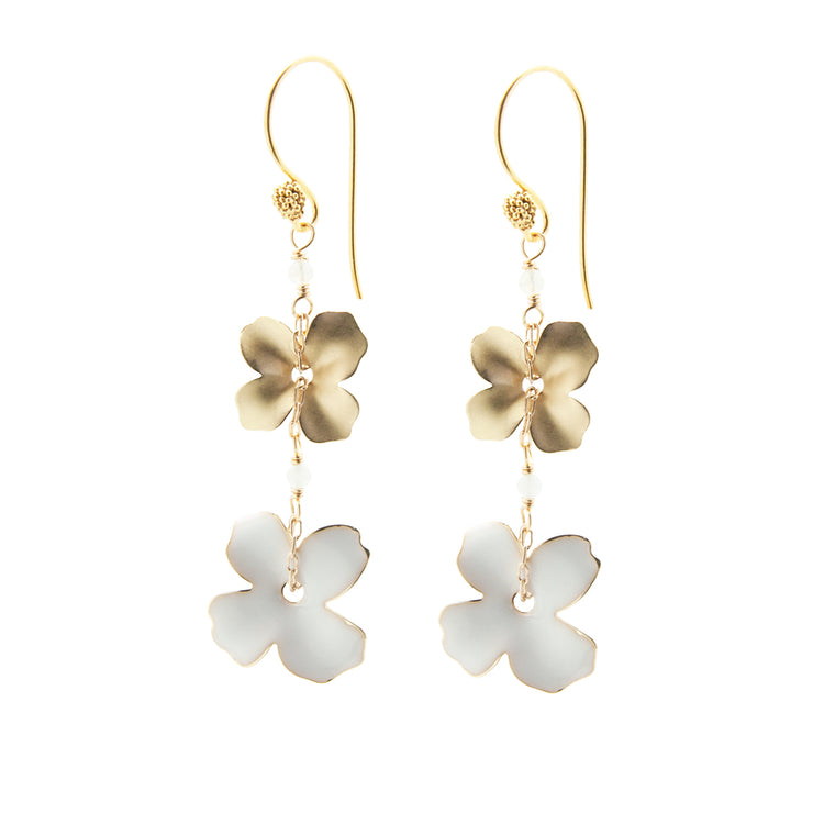 two flower earrings | white