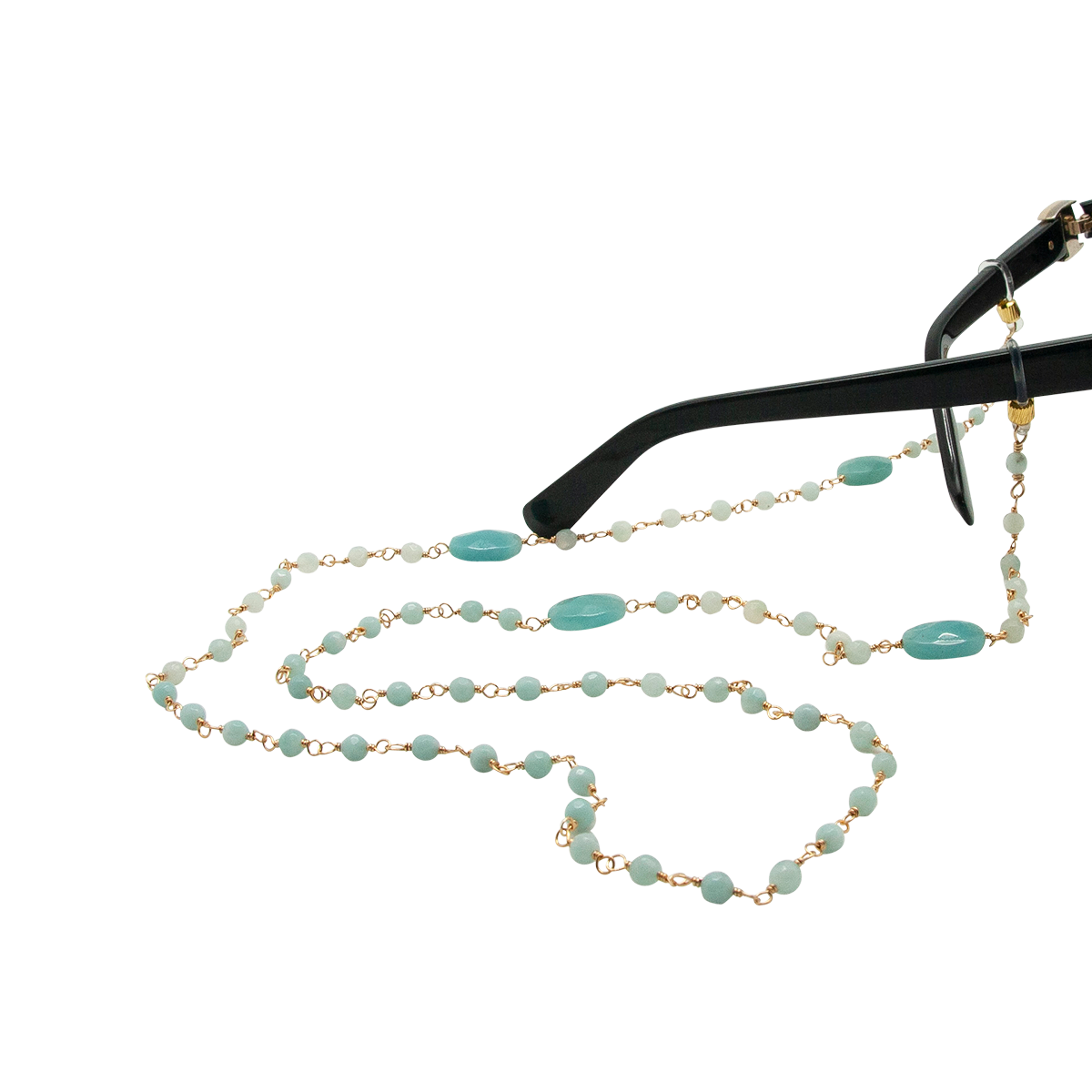 hand beaded amazonite eyewear chain
