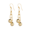Double gold ball drop earrings on open link chain by vivien walsh