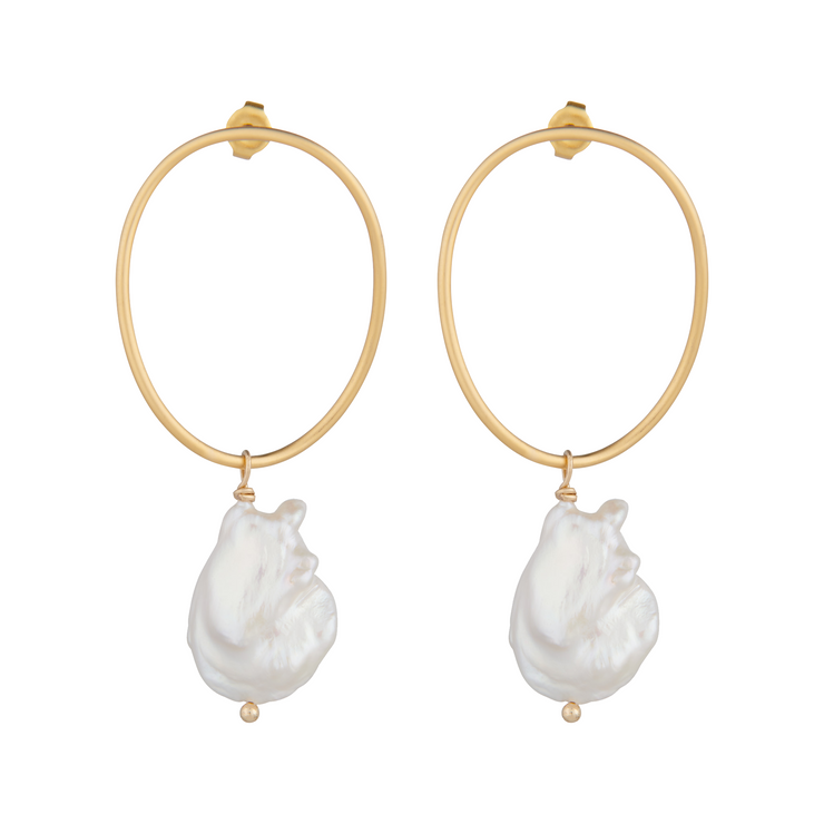 Matte gold wavy circle earrings with baroque freshwater pearl drops by vivien walsh