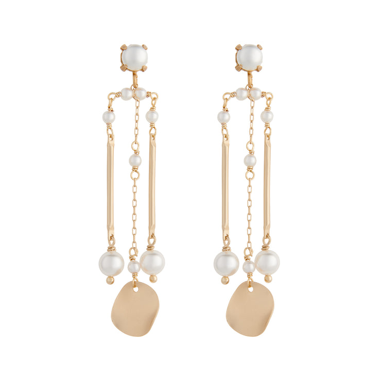 Matte gold column earrings with white pearls by vivien walsh