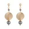 Matte gold ripple disc earrings with grey pearls by vivien walsh