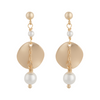 Matte gold ripple disc earrings with white pearls by vivien walsh