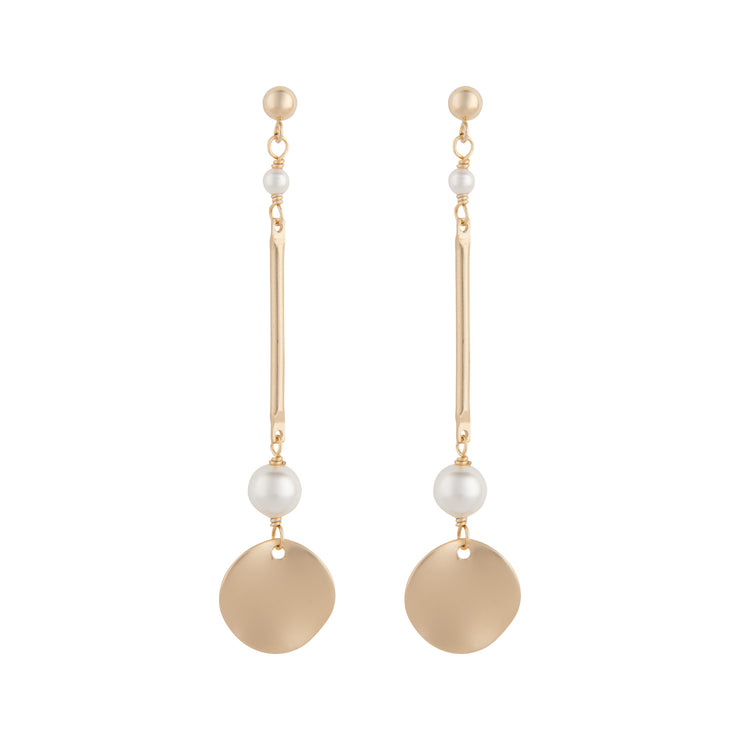 Matte gold plated bar disc earrings with white pearls by vivien walsh