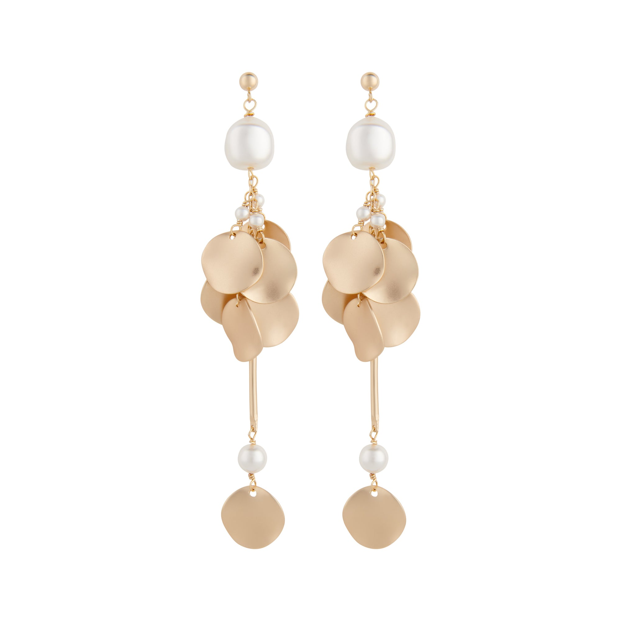 Matte gold ripple disc statement earrings with white pearls by vivien walsh