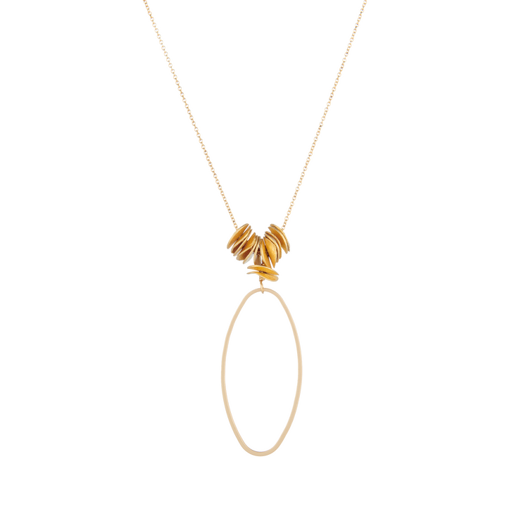 matte gold oval necklace