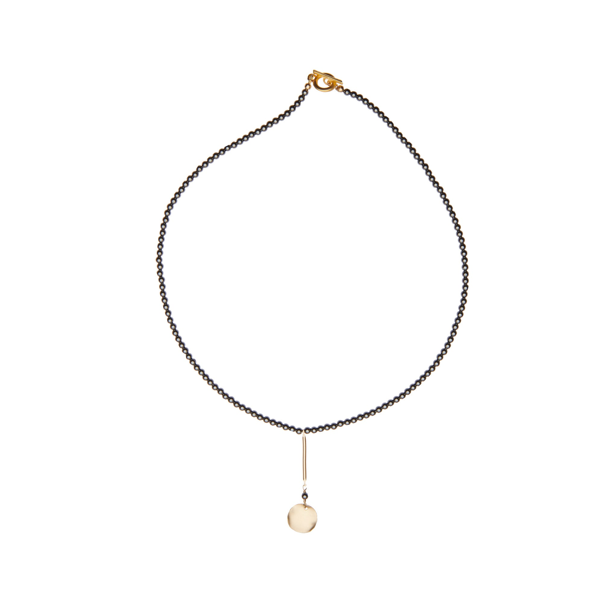 grey pearl ripple disc necklace by vivien walsh