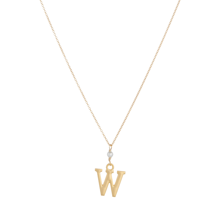 """W"" Initial Charm Necklace with Pearl"