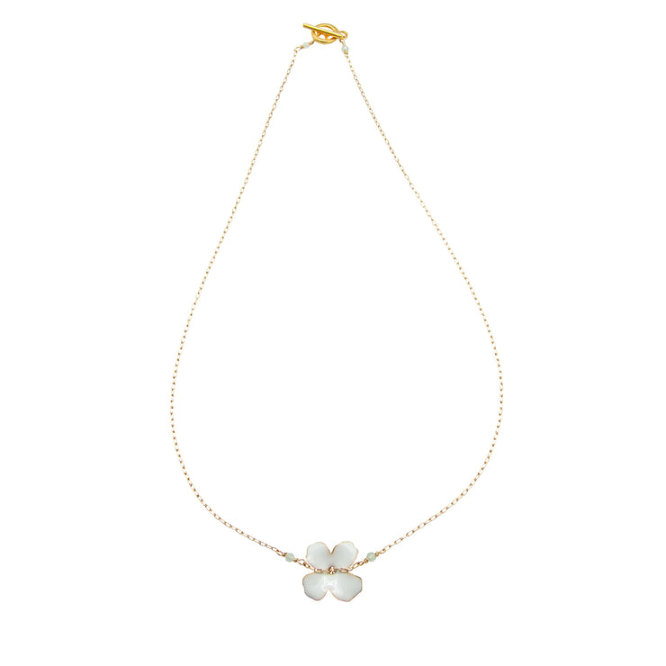 enamel flower chain | white