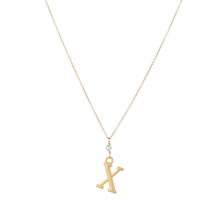 """X"" Initial Charm Necklace with Pearl"