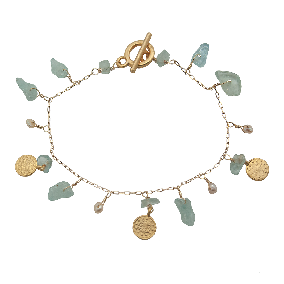 Aquamarine coin charm bracelet on white background