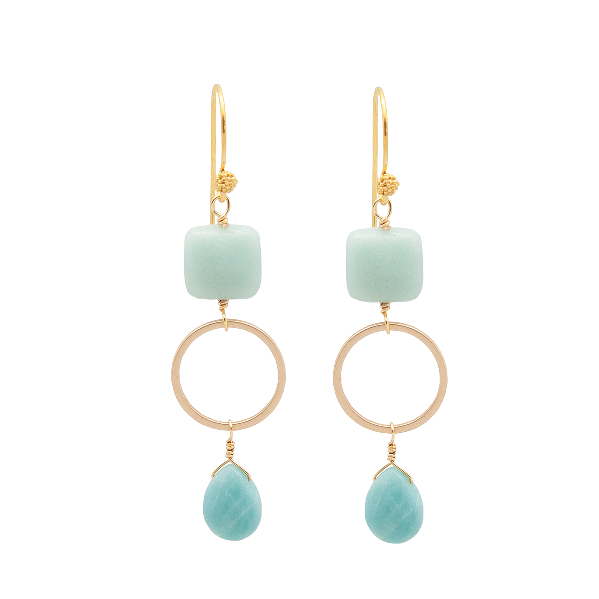 aqua briolette earrings with amazonite semi precious stones