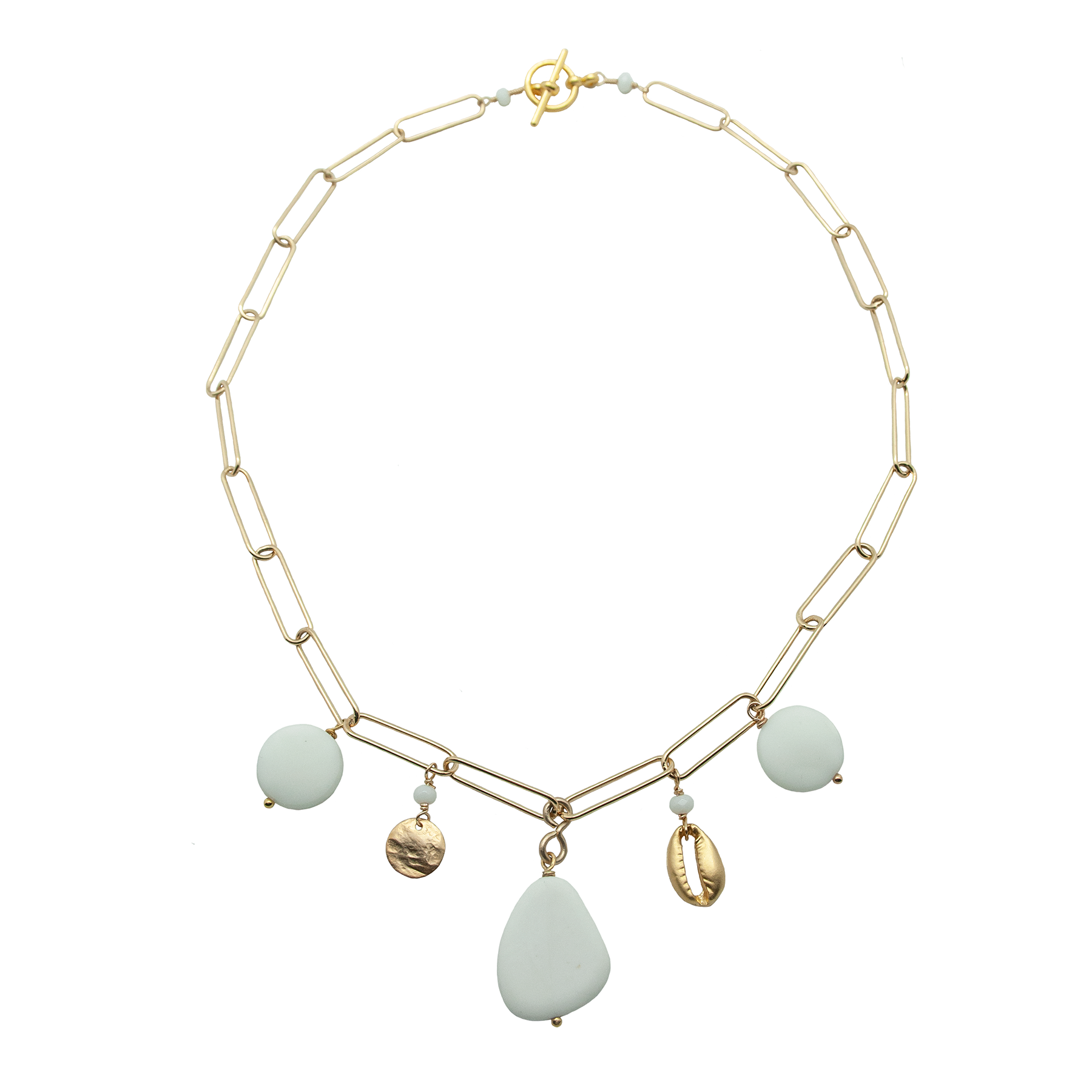 white charm link chain necklace with recycled glass stones and gold shell and disc