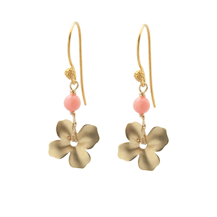 gold + coral mini flower earrings