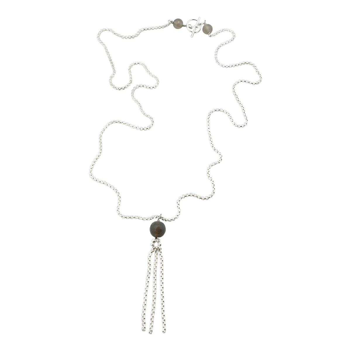 silver chain fringe pendant with faceted grey agate stones