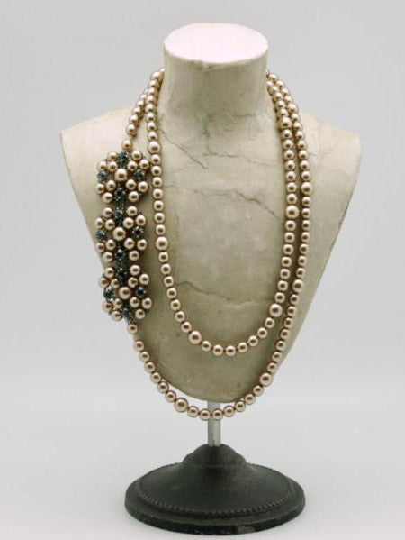 long taupe pearl necklace with montana crystal stones