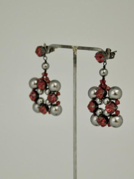 grey pearl square earrings with red crystal stones by vivien walsh