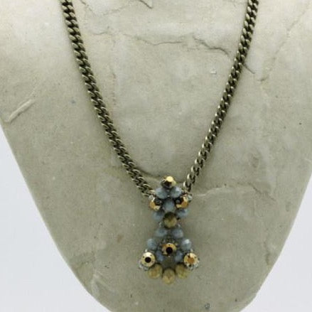 matte gold crystal beaded necklace on bronze chain by vivien walsh