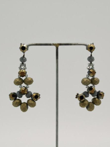 matte gold + grey fan earrings by vivien walsh