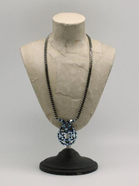 metallic blue crystal encrusted pendant
