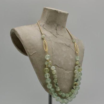 double necklace with prehnite stones and matte gold