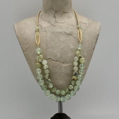 prehnite beaded double row necklace with matte gold vivien walsh